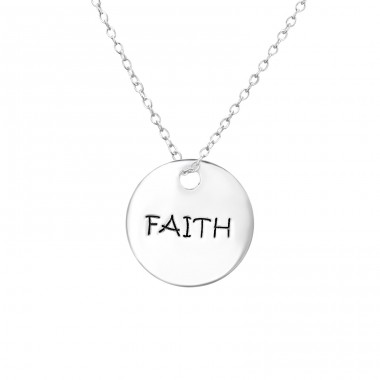 Faith Tag - 925 Sterling Silver Necklace without stones A4S30099