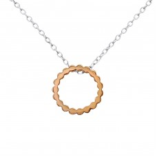 2 Tone Circle - 925 Sterling Silver Necklace without stones A4S30226