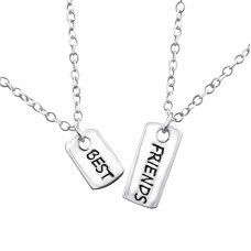 Best Friends Necklace Set - 925 Sterling Silver Necklace without stones A4S30449