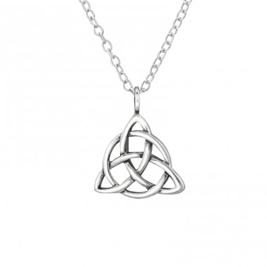 Triangular Celtic Knot - 925 Sterling Silver Necklace without stones A4S30867