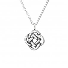 Square Celtic Knot - 925 Sterling Silver Necklace without stones A4S30870