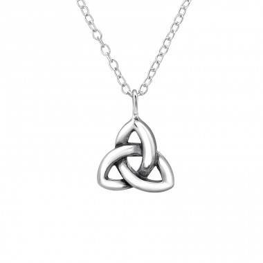 Triangular Celtic Knot - 925 Sterling Silver Necklace without stones A4S30871