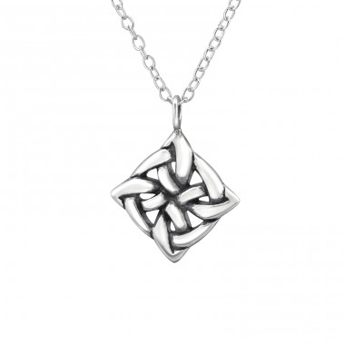 Square Celtic Knot - 925 Sterling Silver Necklace without stones A4S30872