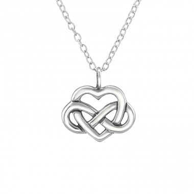 Celtic Heart Knot - 925 Sterling Silver Necklace without stones A4S30873