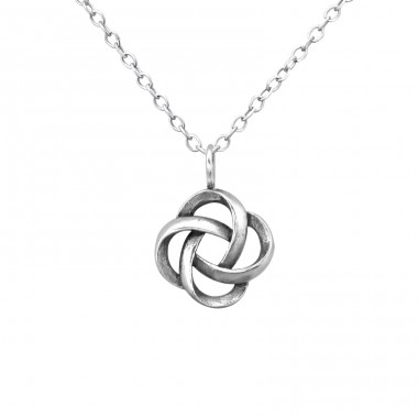 Knot - 925 Sterling Silver Necklace without stones A4S30874