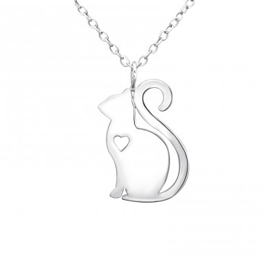 Cat - 925 Sterling Silver Necklace without stones A4S30877