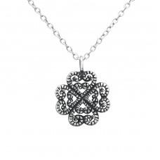 Antique Flower - 925 Sterling Silver Necklace without stones A4S30889