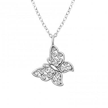 Butterfly - 925 Sterling Silver Necklace without stones A4S32234