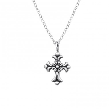 Gothic Cross - 925 Sterling Silver Necklace without stones A4S32237