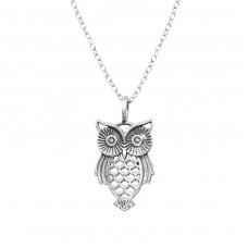 Owl - 925 Sterling Silver Necklace without stones A4S32240
