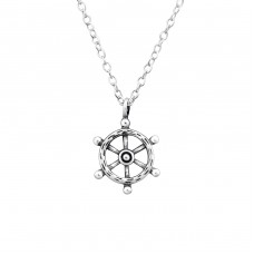 Ship's Wheel - 925 Sterling Silver Necklace without stones A4S32248