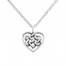 Celtic Heart - 925 Sterling Silver Necklace without stones A4S32421