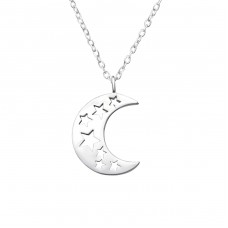 Moon - 925 Sterling Silver Necklace without stones A4S33814