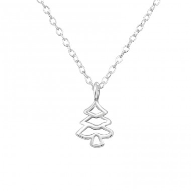 Christmas Tree - 925 Sterling Silver Necklace without stones A4S35110