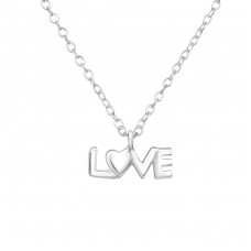 Love - 925 Sterling Silver Necklace Without Stones A4S35112