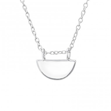 Semicircle - 925 Sterling Silver Necklace without stones A4S35188