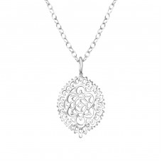 Pattened - 925 Sterling Silver Necklace without stones A4S36128