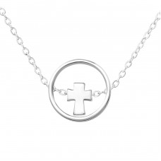 Cross - 925 Sterling Silver Necklace without stones A4S36225