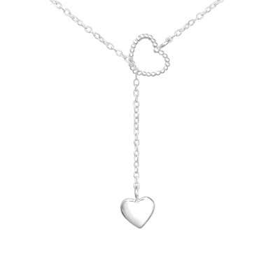 Double Heart Y - 925 Sterling Silver Necklace without stones A4S36227