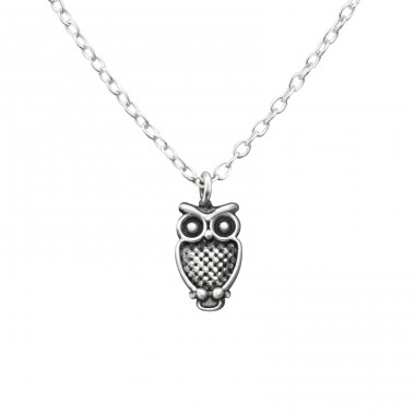 Owl - 925 Sterling Silver Necklace without stones A4S36367