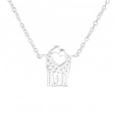 Giraffe Couple - 925 Sterling Silver Necklace without stones A4S36705