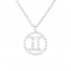 Gemini Zodiac Sign - 925 Sterling Silver Necklace without stones A4S36713