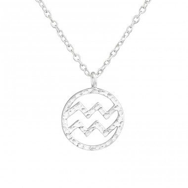 Aquarius Zodiac Sign - 925 Sterling Silver Necklace without stones A4S36714