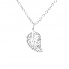 Leaf - 925 Sterling Silver Necklace without stones A4S37099