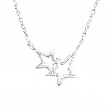 Double Star - 925 Sterling Silver Necklace without stones A4S37241