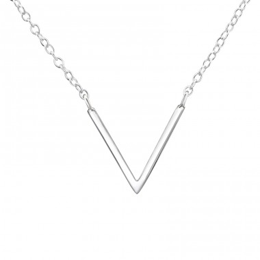 V Shaped - 925 Sterling Silver Necklace without stones A4S37242