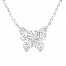 Butterfly - 925 Sterling Silver Necklace without stones A4S37274