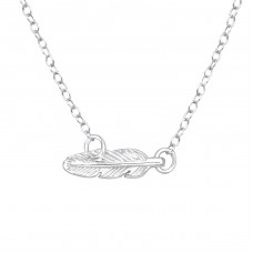 Feather - 925 Sterling Silver Necklace without stones A4S37386