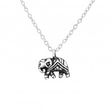 Elephant - 925 Sterling Silver Necklace without stones A4S37613