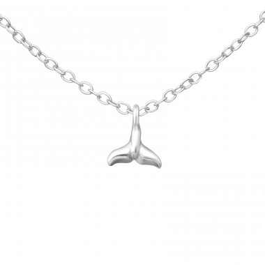 Whale's Tail - 925 Sterling Silver Necklace without stones A4S37614