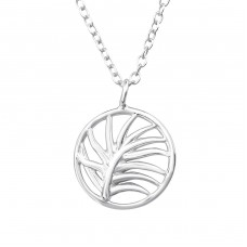 Leaf - 925 Sterling Silver Necklace without stones A4S37902