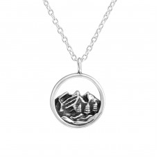 Mountain - 925 Sterling Silver Necklace without stones A4S37904