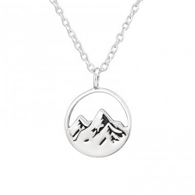 Mountain - 925 Sterling Silver Necklace without stones A4S37905