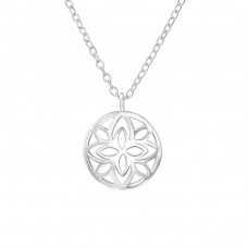 Patterned - 925 Sterling Silver Necklace without stones A4S38542