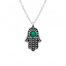Hamsa - 925 Sterling Silver Necklace without stones A4S38777