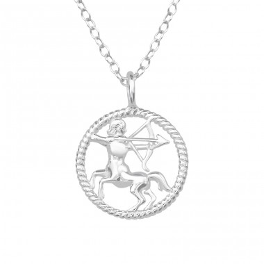 Sagittarius Zodiac Sign - 925 Sterling Silver Necklace without stones A4S38788