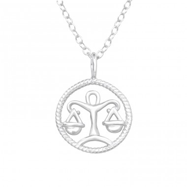 Libra Zodiac Sign - 925 Sterling Silver Necklace without stones A4S38796
