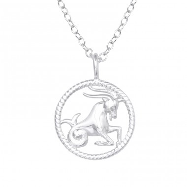 Capricorn Zodiac Sign - 925 Sterling Silver Necklace without stones A4S38798