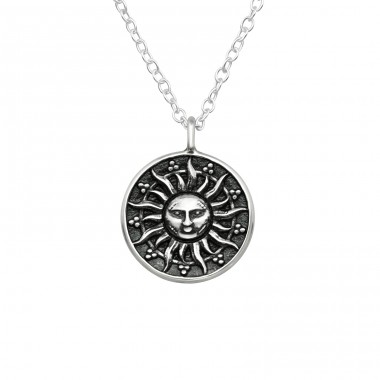 Sun Face - 925 Sterling Silver Necklace without stones A4S38801