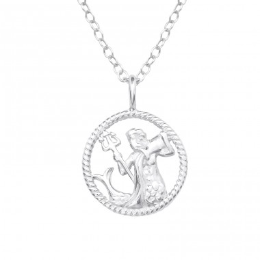 Aquarius Zodiac Sign - 925 Sterling Silver Necklace without stones A4S38803