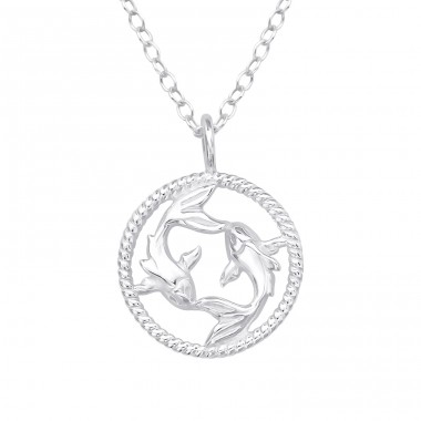 Pisces Zodiac Sign - 925 Sterling Silver Necklace without stones A4S38804