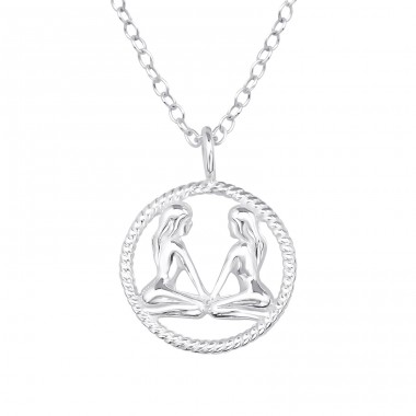 Gemini Zodiac Sign - 925 Sterling Silver Necklace without stones A4S38805