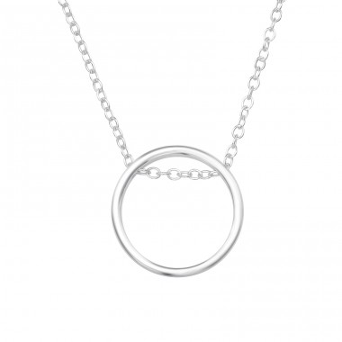 Circle - 925 Sterling Silver Necklace without stones A4S39173