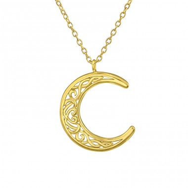 Moon - 925 Sterling Silver Necklace without stones A4S39416