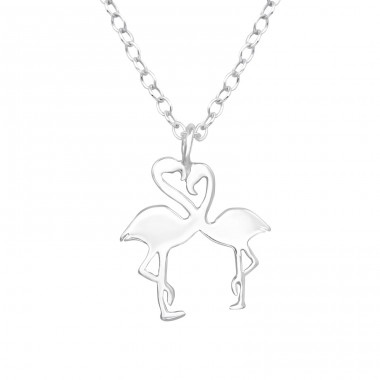 Flamingo Couple - 925 Sterling Silver Necklace without stones A4S39449