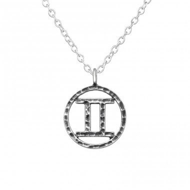 Gemini Zodiac Sign - 925 Sterling Silver Necklace without stones A4S39471